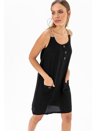 Emjey Urgan Askılı Elbise Siyah